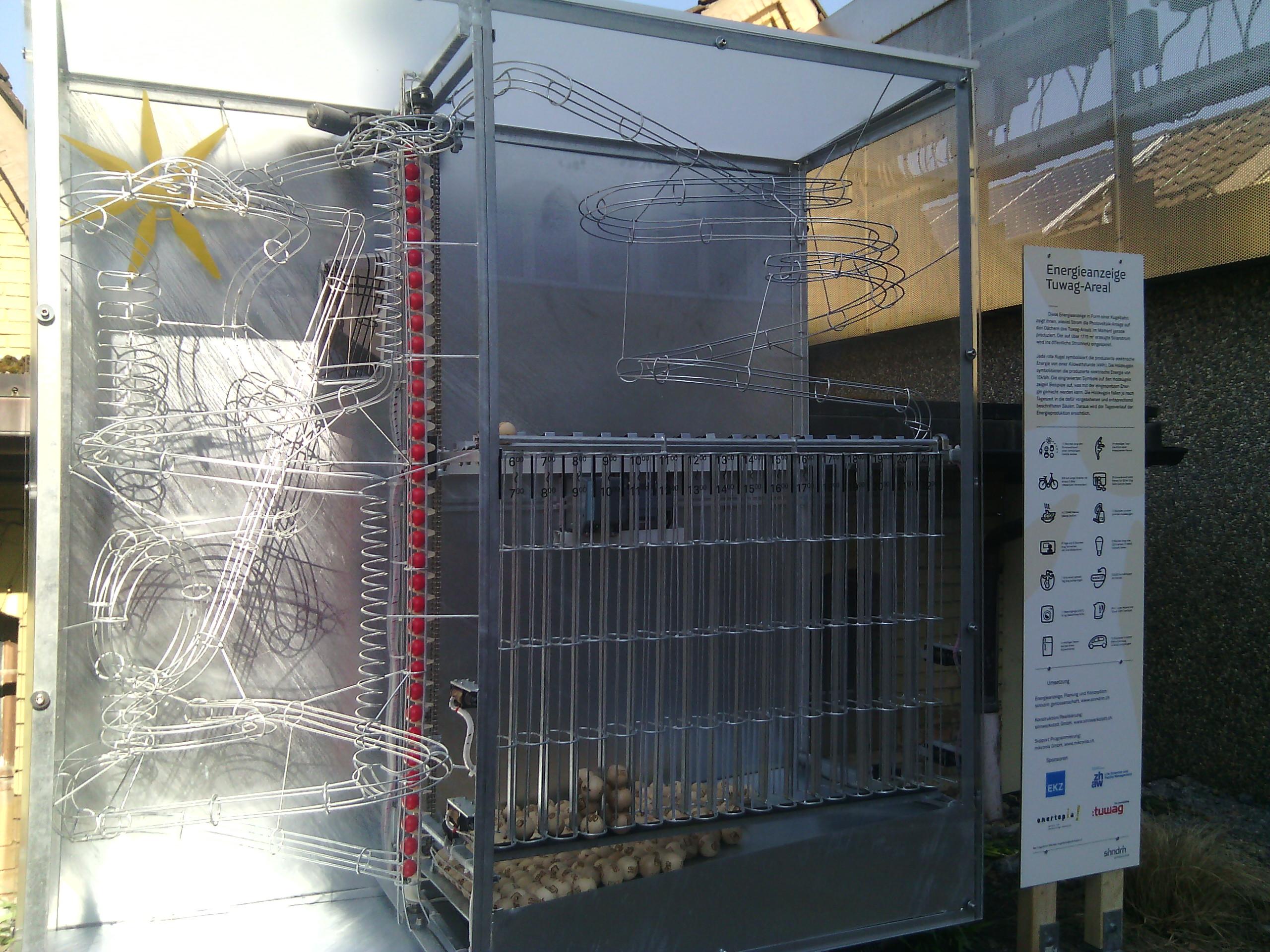 Auf der rechten Seite stellen Holzkugeln 10kWh Solarenergie-Einheiten dar, die ins Netz eingespeist werden.