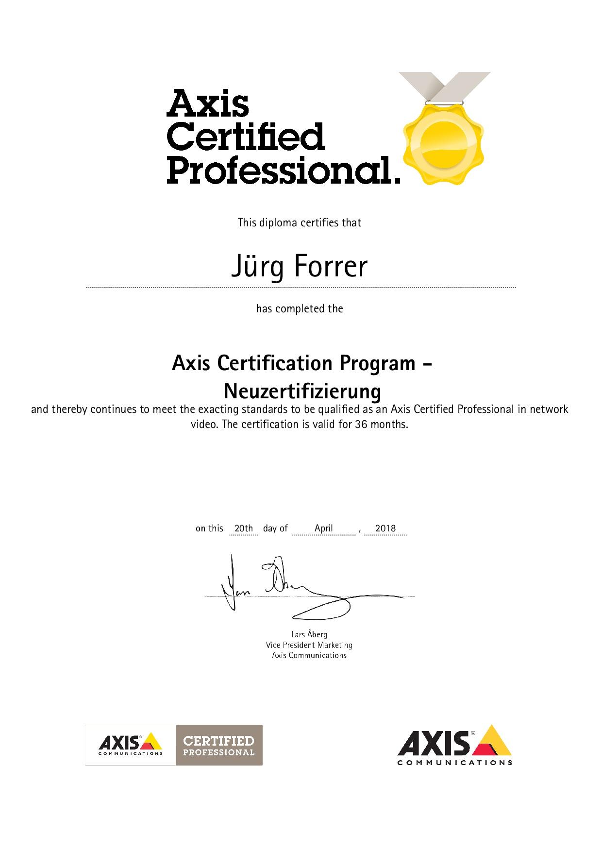 Zertifikat 2018 - 2021