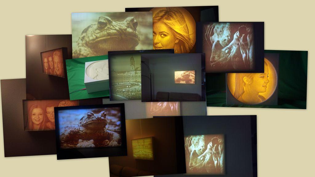 Collage der gefertigten Wandbilder/Lithophane
