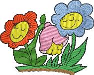 Blumen farbig bunt mit Gesicht strahlend leuchtende Farben Stickerei