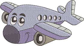 Serie Rosa Flugzeug mit Gesicht farbig blau weiss schwarz bunt liegend Stickereibild