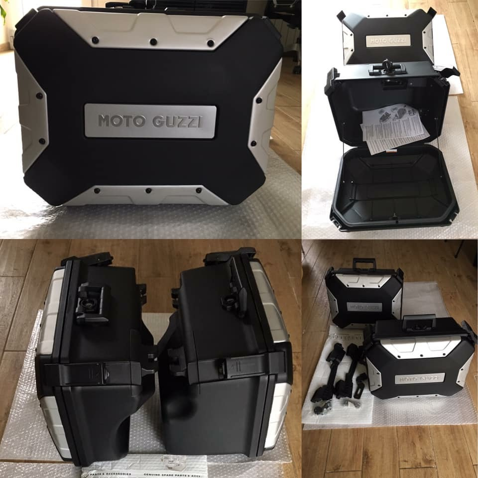 Urban-boxes-kit with Urban-boxes, carriers and connection rods - Guzzi V85